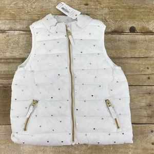 Gymboree White with gold Heart Puffer Vest 18-24M